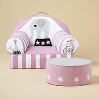 The Land of Nod | Kids' Personalized Seating: Kids Personalized Pink Circus Nod Chair in The Nod Chair