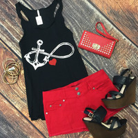 Double Button Front Shorts: Red
