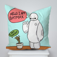 Hello I am Baymax and I am groot Square Pillow Cover, Pillow Case, Cushions Pillow Cover, Home Decor Pillow, Bed Pillow, Bedding, Housewares