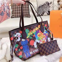 Louis Vuitton LV New fashion floral tartan print leather shoulder bag handbag two piece suit