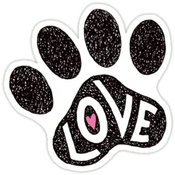 "Pawprint with pink heart and text ""Love"" by Mhea"