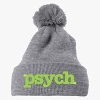 Psych Design Embroidered Knit Pom Cap