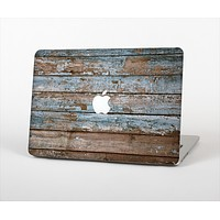The Wood Planks with Peeled Blue Paint Skin Set for the Apple MacBook Air 13""