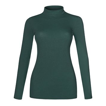 Basic Lightweight Fitted Long Sleeve Mock Neck Cotton Shirt with Stretch (CLEARANCE)
