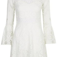 Fluted Sleeve Lace Dress - Cream
