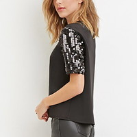 Sequined Scuba Knit Top