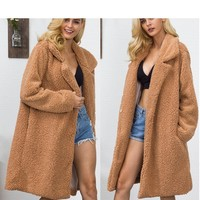 Fashion streetwear women coats and jackets Faux Fur Teddy Bear plus size women jackets spring autumn long sleeve faux fur coat