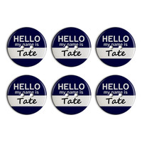 Tate Hello My Name Is Plastic Resin Button Set of 6
