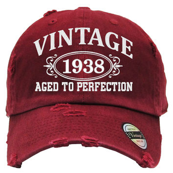 AGED TO PERFECTION 1938 Embroidered Distressed Baseball hat