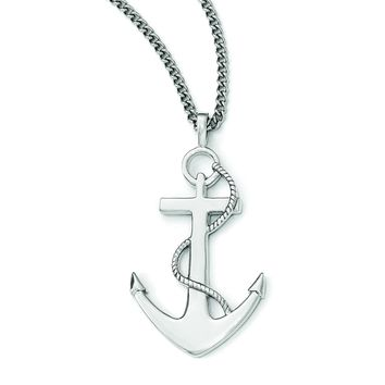 Stainless Steel Polished Anchor Mariner Cross Necklace SRN1957