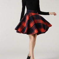 Color Block  Flared  Plaid  Skirt