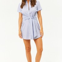 Pinstriped Tie-Front Shirt Dress