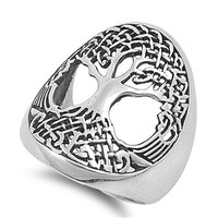 925 Sterling Silver Tree of Life Wicca Celtic Ring 26MM