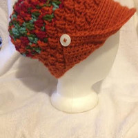 Multi Color Woman's Crochet Peak Hat With White Buttons