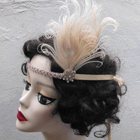 Ivory Peacock Feather, Swarovski Crystal, 1920s Flapper Headband, Hair Accessory, Great Gatsby, Costume Headpiece