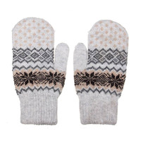 Beige Mittens with Geometric Print