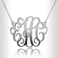 """Sterling Silver 1.2"""" Necklace Custom Made Initials Monogrammed Necklace Monogram Name Jewelry nameplate"""