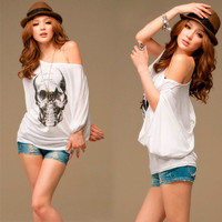 Casual Women Cool Skull Loose Batwing T-shirts Tee Tops White Boat Neck Lady 1bs