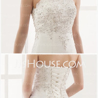 A-Line/Princess Sweetheart Chapel Train Satin Tulle Wedding Dress With Embroidery Lace Beadwork (002000179) - JJsHouse