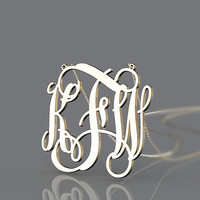 Golden monogram necklace--1.25 inch monogram jewelry plated in gold for present