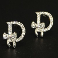 ONETOW Dior Bow Fashion Women Alphabet fashion lady earrings