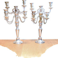 """Silver Candelabras 2 Tall Candelabras Vintage Silver Candlesticks Wedding Candelabra Shabby & Chic Candle Holder Paris Country French 19"""""""