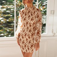 Elegant Floral Bandage Dress Women High Neck Long Sleeve Elastic Sexy Bodycon Mini Dresses Female