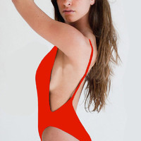 Red Backless Scoop One-Piece Swimsuits