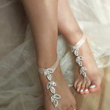 Rhinestone beach wedding barefoot sandals blush flexible wrist sandals, bridal barefoot, flexible wrist lace sandals