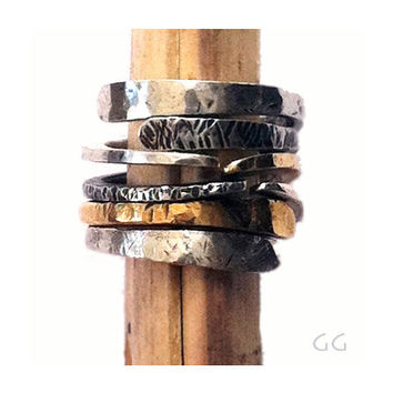 """RING """"Energy4"""" in Sterling Silver and Gold metal, Modern, Hammered, Forged, Stackable, Organic, Rustic, Personalized."""