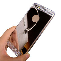 Luxury Rhinestone Diamond Mirror  Soft Gel Bling Case Cover For Apple iPhone 5 5s 6 4.7'' 6 plus 5.5''