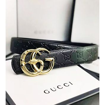 GUCCI New fashion GG snake buckle more letter leather couple belt Black