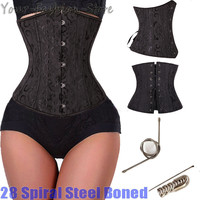 28 Spiral Steel Boned Floral Tight Underbust Waist Training Corsets TOP Cincher Bustiers Lingerie Lace Up PLUS SIZE S-6XL TFS