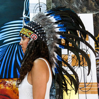 Real Blue Tip and Black Chief Indian Headdress 75cm, Native American Costume Hand Made Feathers War Bonnet Hat