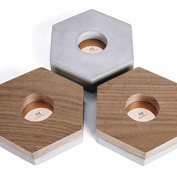 Minshape Tealight Candle Holders MTH2S / Minimalist, scandinavian, modern concrete tealight candle holders with copper and walnut elements