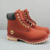 Timberland Leather Lace-Up Icon Premium Boot High Red Black - Best Deal Online