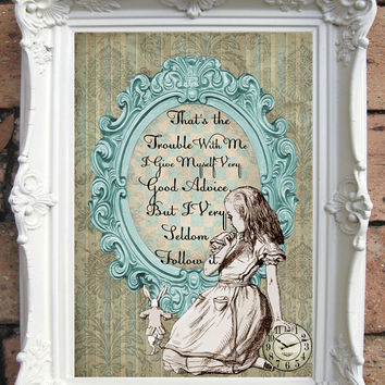 ALICE in Wonderland Quote Art Print on Handmade Paper. Shabby Chic Decor. Vintage Style Alice Wall Art. Altered Book Illustration. Code:A008
