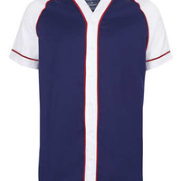 White And Blue Baseball Short Sleeve Shirt - New This Week - New In