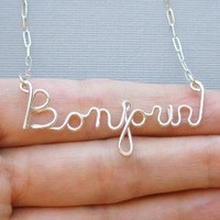Bonjour Necklace all sterling silver by PianoBenchDesigns on Etsy
