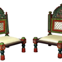 HAND PAINTED WOODEN CARVED LOW CHAIRS - Set of 2