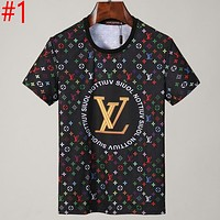 LV Louis Vuitton printed letters men's and women's beach top T shirt