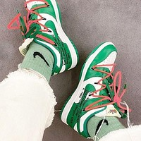 Bunchsun NIKE Dunk Low x Off-White Popular Men Casual Sport Shoes Sneakers Green&White
