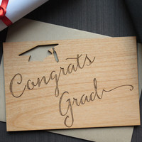 Unique Grad Wood Card - 2015 Graduation Card for College Graduation and High School Graduation