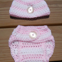 Crochet Diaper Cover and Beanie, Baby Girl Pink and White Stripe Soaker , Crochet Photo Prop