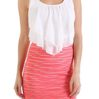 Ruffle Top Tube Dress - Coral