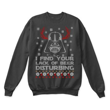 SPBEST I Find Your Lack Of Beer Disturbing Darth Vader Star Wars Ugly Sweater