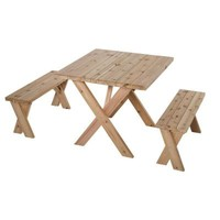 Jewett-Cameron Lumber Corp, 35 in. L x 35 in. W x 30 in. H Cedar Patio Picnic Table with 2 Benches, WT 33530 at The Home Depot - Tablet