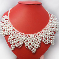 SALE White necklace wedding necklace white collar  pearl necklace wide necklace glass beads necklace bib necklace statement