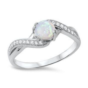 Sterling Silver White Opal and Crossed Band CZ Ring