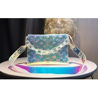 LV Louis vuitton fashion hot selling woman embossed letter jelly transparent cross - dressing bag